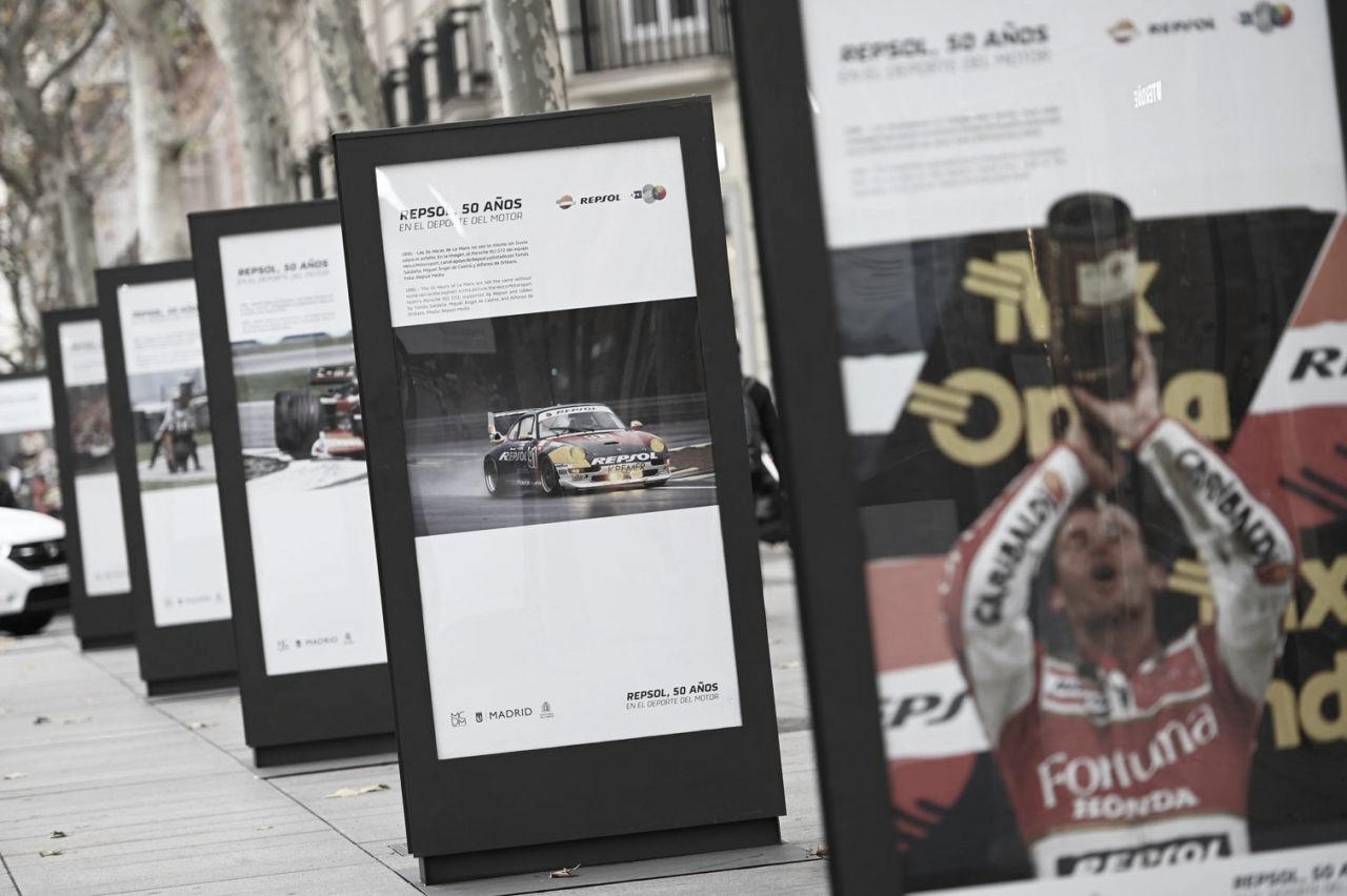 Exposición fotográfica en Madrid por los 50 años de Repsol en el mundo del motor