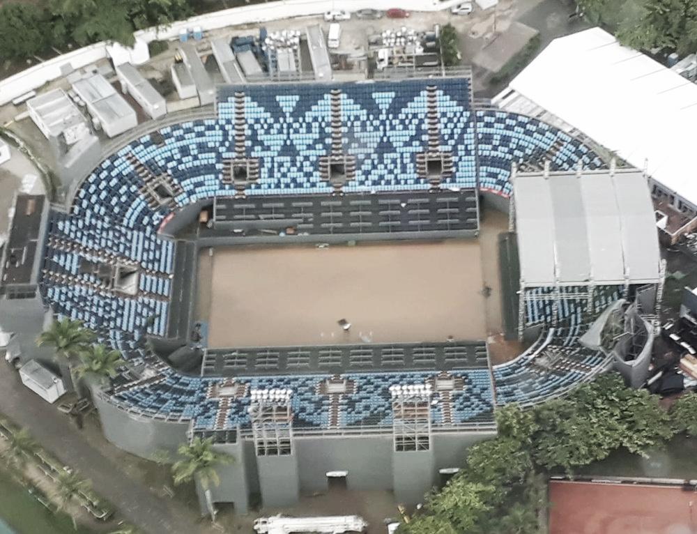Forte chuva causa alagamento e afeta estruturas do Rio Open