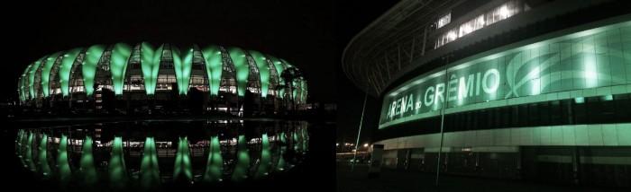 Dupla Gre-Nal relembra profissionais e deixa estádios em verde para homenagear Chapecoense
