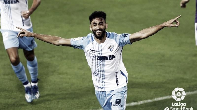 Juande celebrando su gol en el partido Málaga CF- Real Sporting en la jornada 7ª. /Foto: LaLiga.