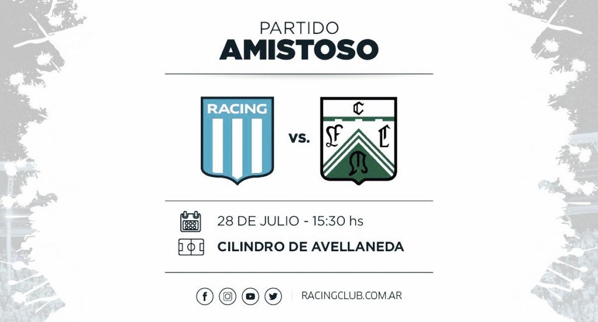Racing se enfrentará a Ferro Carril Oeste en un partido amistoso
