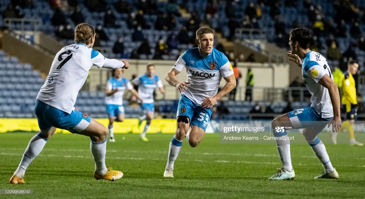 <div>Above: Greg Docherty rescued a point with his first goal for the club to keep Hull City two points clear at the top of Sky Bet League One&nbsp;</div>(Photo by Andrew Kearns - CameraSport via Getty Images)