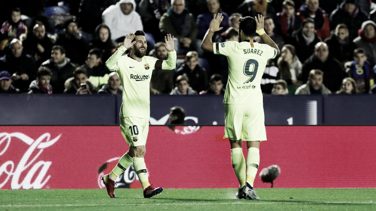 Messi brilha e Barcelona goleia o Levante fora de casa