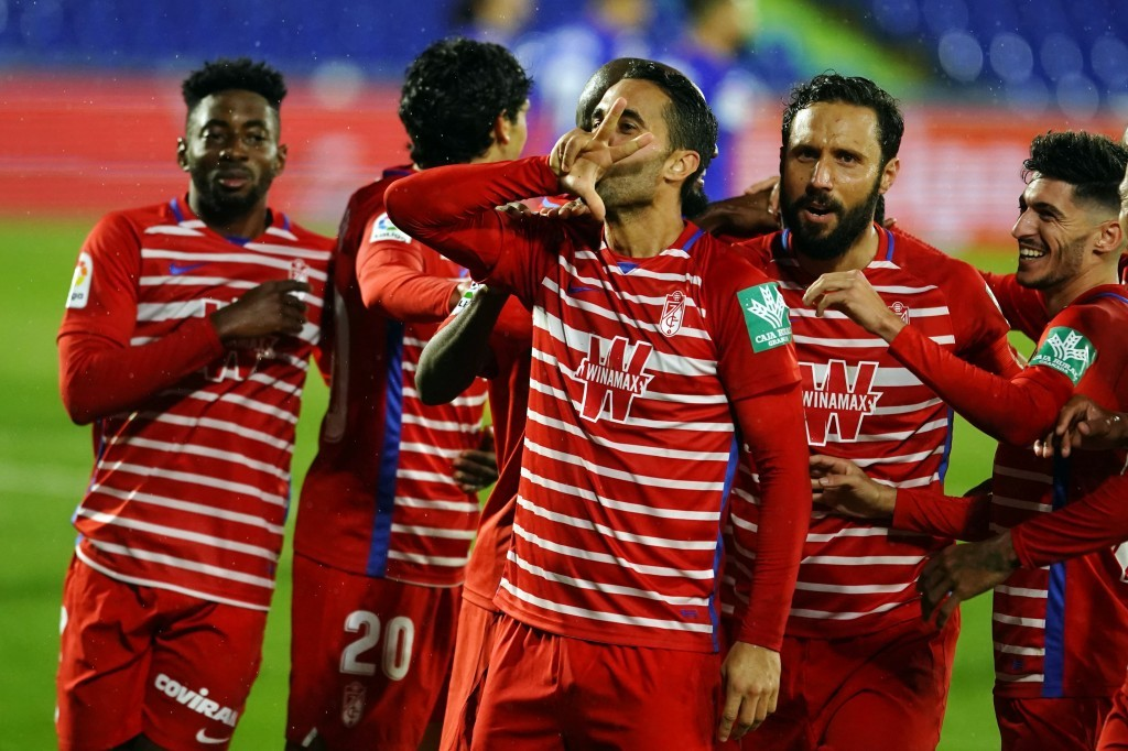 Montoro celebrando el gol anotado ante el Getafe este domingo. Foto: Pepe Villoslada / Granada CF.