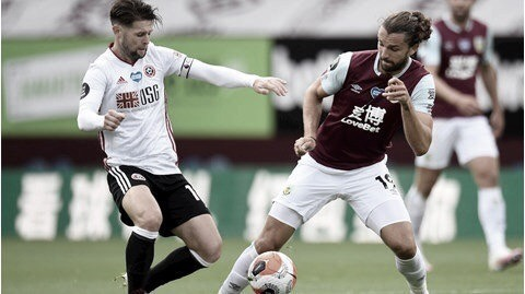 Sheffield United marca na reta final e busca empate com Burnley
