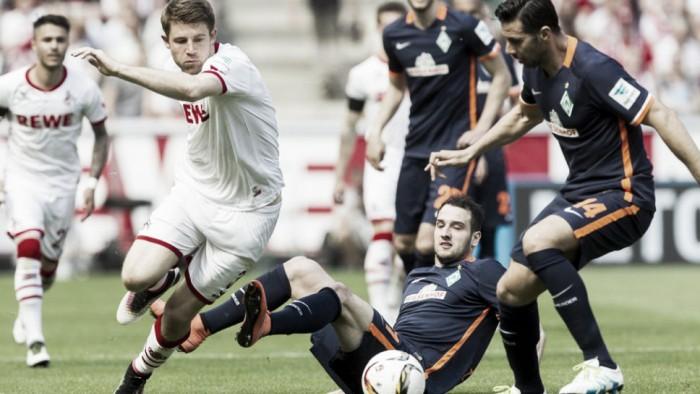 Werder Bremen tropeça ao empatar sem gols com Colônia e volta à zona de rebaixamento