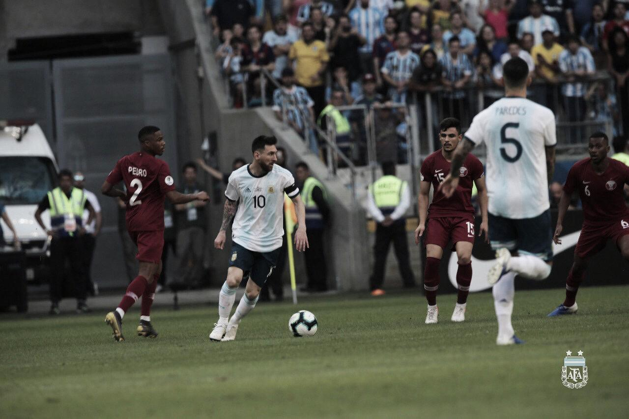 Alívio! Argentina vence Catar e está classificada para as quartas de final da Copa América