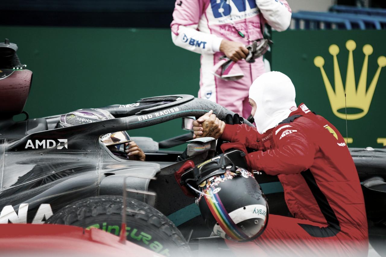 Sebastian Vettel felicita a Lewis Hamilton. Fuente: Mercedes
