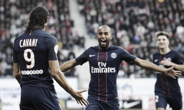 Ligue 1, Lucas e Cavani spingono al secondo posto il Paris Saint Germain: il Nancy si arrende 1-2 al Picot