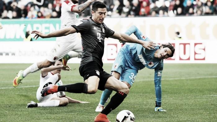 Lewandowski encerra jejum, marca duas vezes e Bayern vence o Augsburg