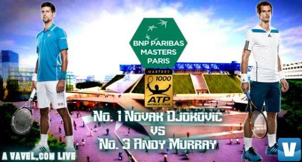 Score Novak Djokovic Vs Andy Murray Of The 2015 BNP Paribas Masters Final (2-0)