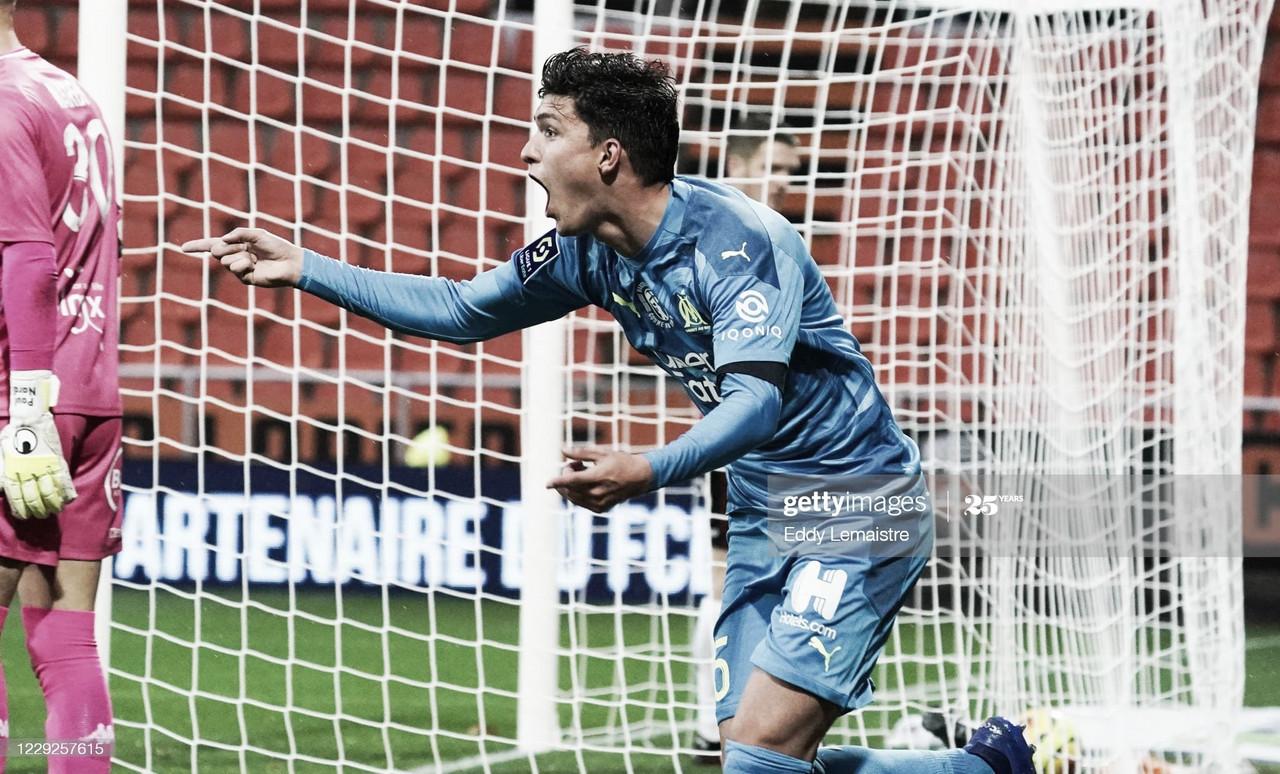GRITALO. Balerdi y su primer grito de gol en Francia. Foto: Getty images