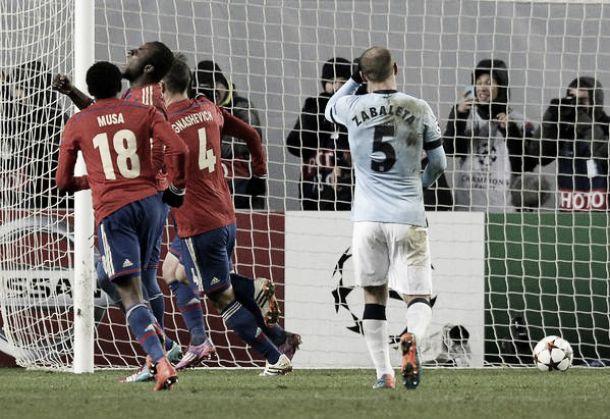 CSKA di rimonta: impatta 2-2 il Manchester City in Russia