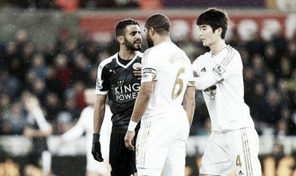Ashley Williams in post-match spat with Riyad Mahrez following Leicester defeat