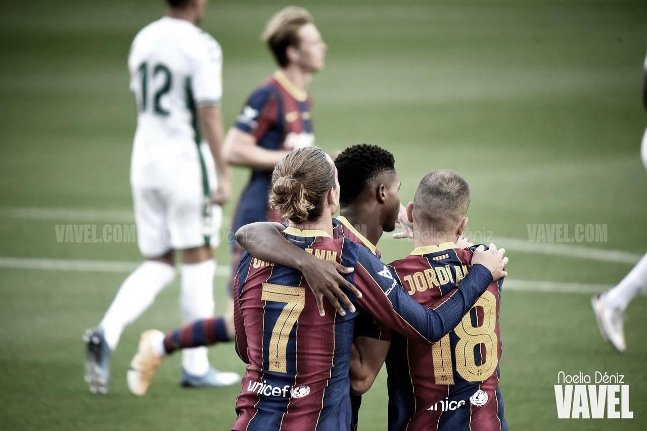 Jugadores del Fútbol Club Barcelona en un partido de la actual temporada./<div>Imagen de Noelia Déniz, VAVEL.</div>