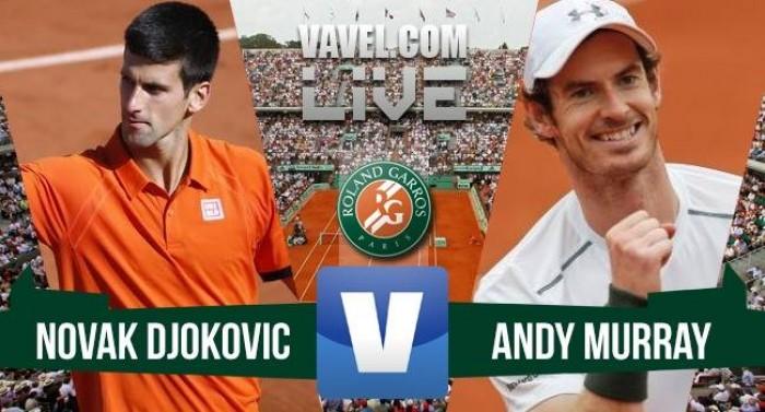 Novak Djokovic x Andy Murray na final de Roland Garros 2016 (3-1)
