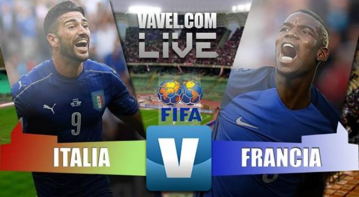 Partita Italia - Francia in amichevole internazionale 2016. Kurzawa mette dentro il 3-1