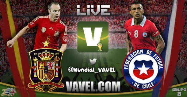 Resultado Espanha x Chile na Copa do Mundo 2014 (0-0)