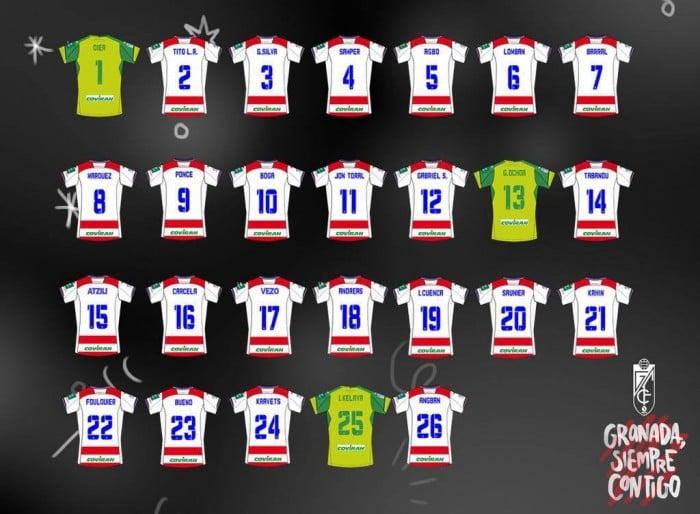 Los dorsales del Granada CF para la temporada 2016/2017