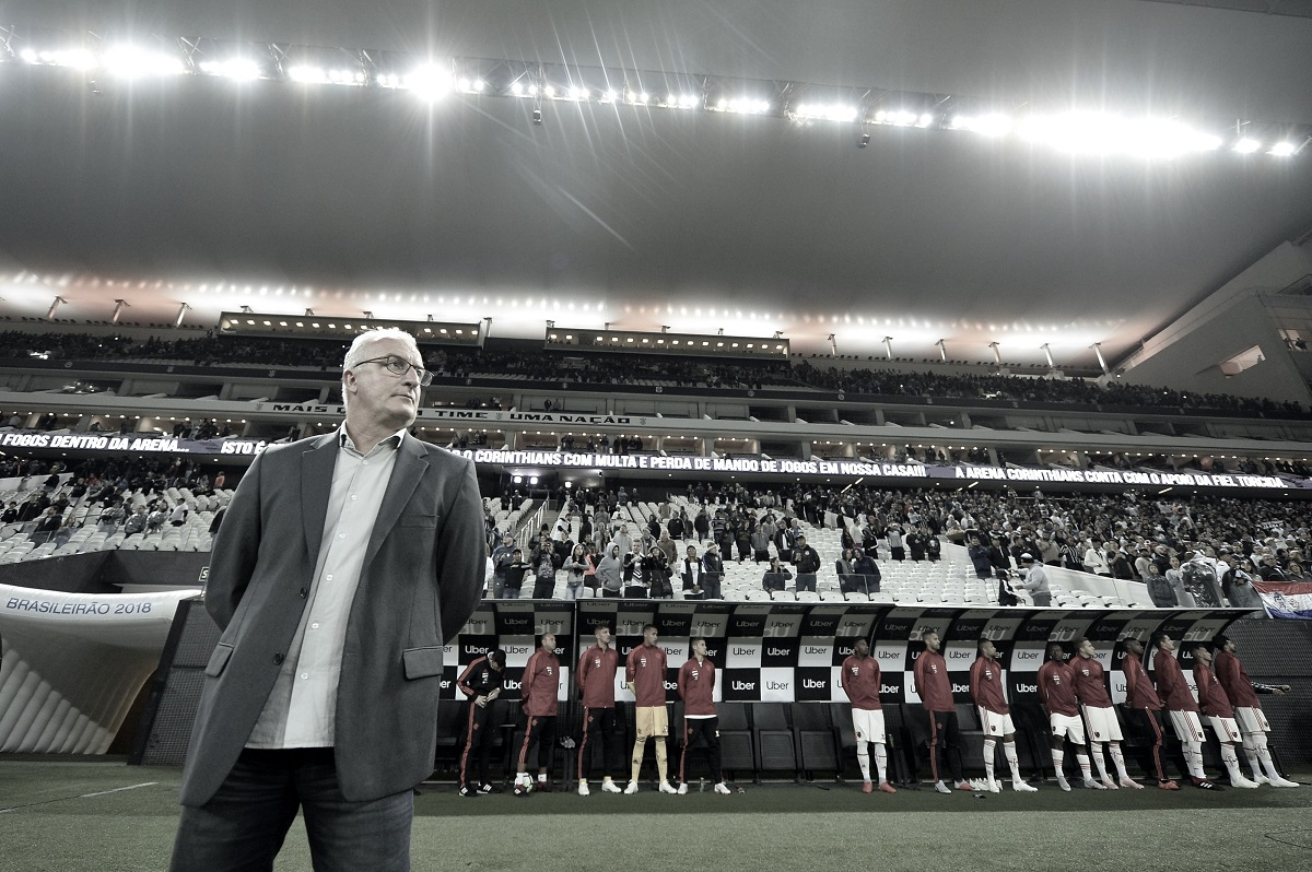 """Após grande vitória, Dorival valoriza atuação em Itaquera: """"Flamengo foi agressivo"""""""