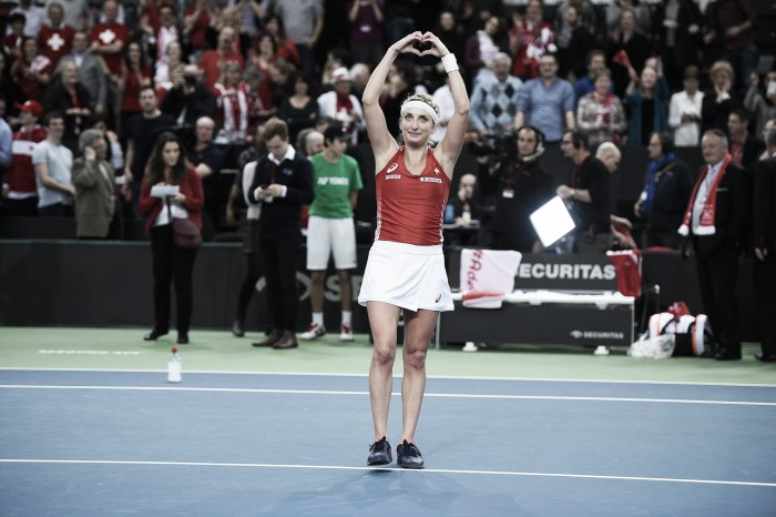 Fed Cup: Timea Bacsinszky gives Switzerland the lead after straight sets win over Alizé Cornet