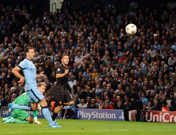 Manchester City 1-1 AS Roma: Totti's chip gives Man City the blues.