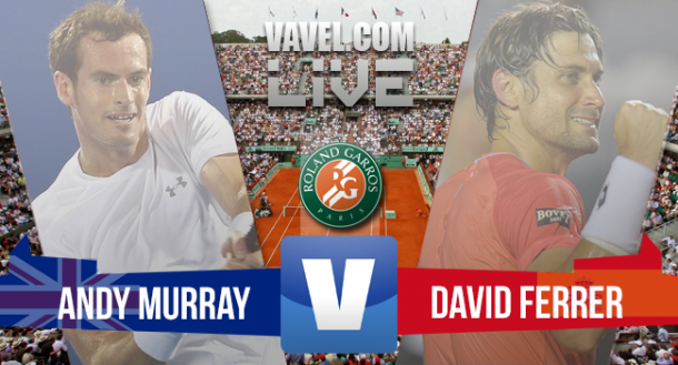 Resultado Andy Murray x David Ferrer pelo Grand Slam de Roland Garros (3-1)