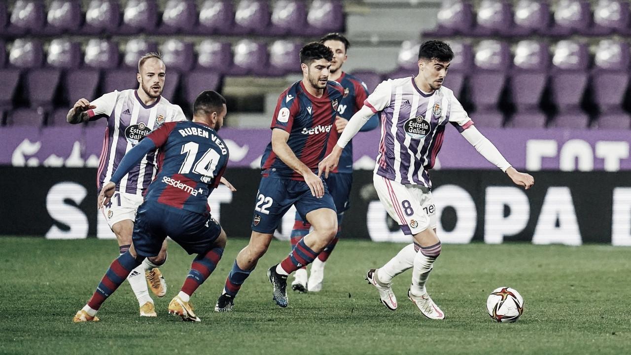 El Real Valladolid, goleado ante el Levante en octavos de Copa del Rey