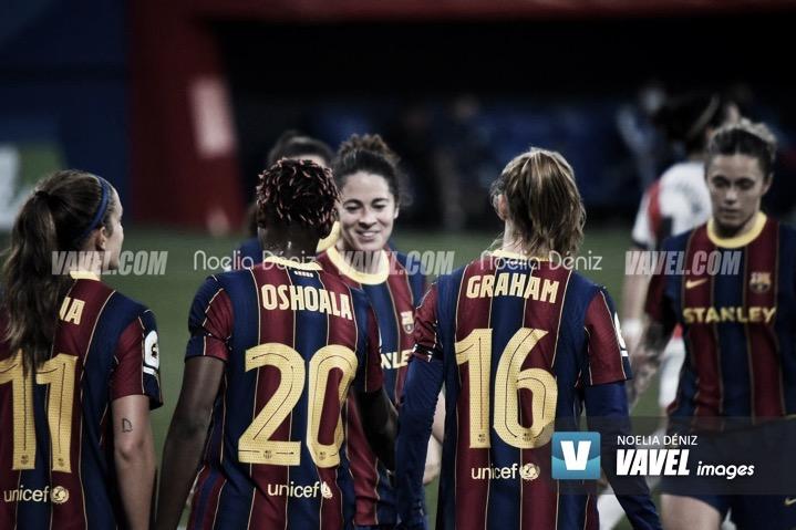 Las jugadoras del Barça ante el Rayo | Foto: VAVEL Images