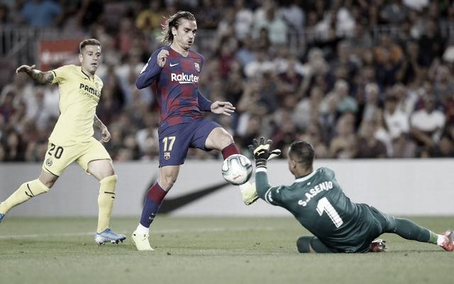 Griezmann junto a Rubén Peña y Asenjo en el Barça - Villarreal de la pasada campaña. | Imagen: fcbarcelona.es<br>