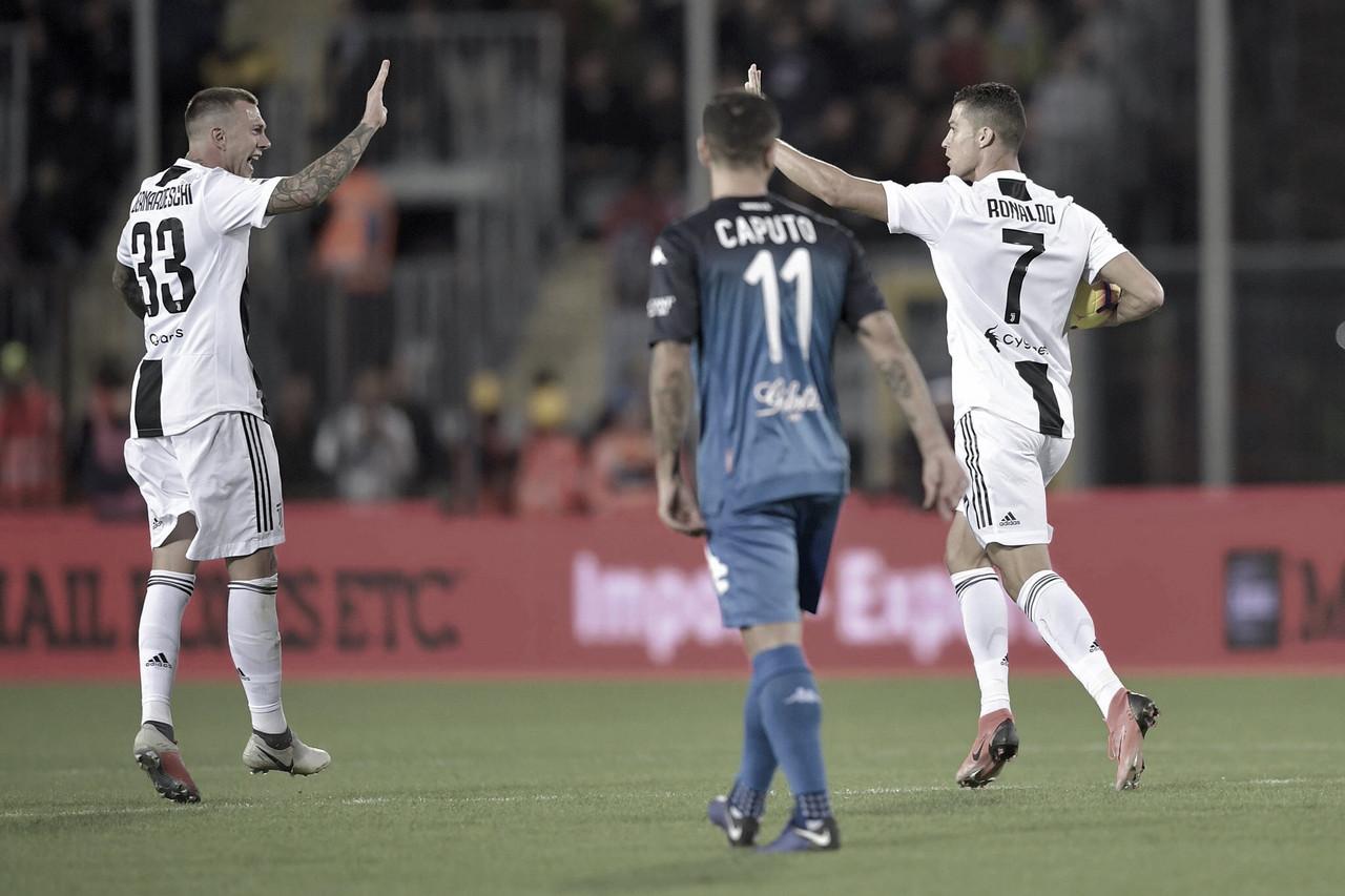 Cristiano Ronaldo brilha, Juventus vence Empoli de virada e mantém folga na liderança