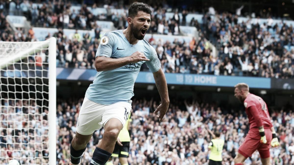 Com hat-trick de Agüero, City goleia Huddersfield e assume a liderança da Premier League