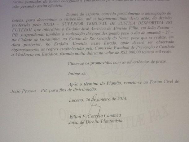 Justiça paraibana exige o cancelamento de Botafogo-PB x Náutico