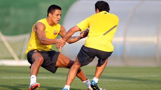 Thiago y Alexis, con el grupo