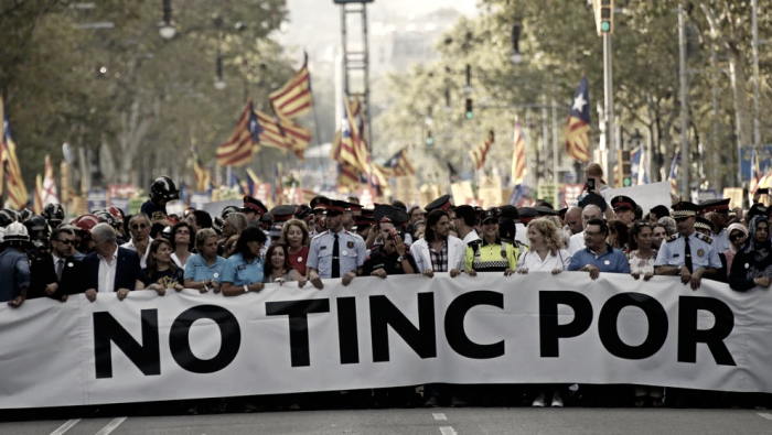 Pitos y reproches en la manifestación antiterrorista