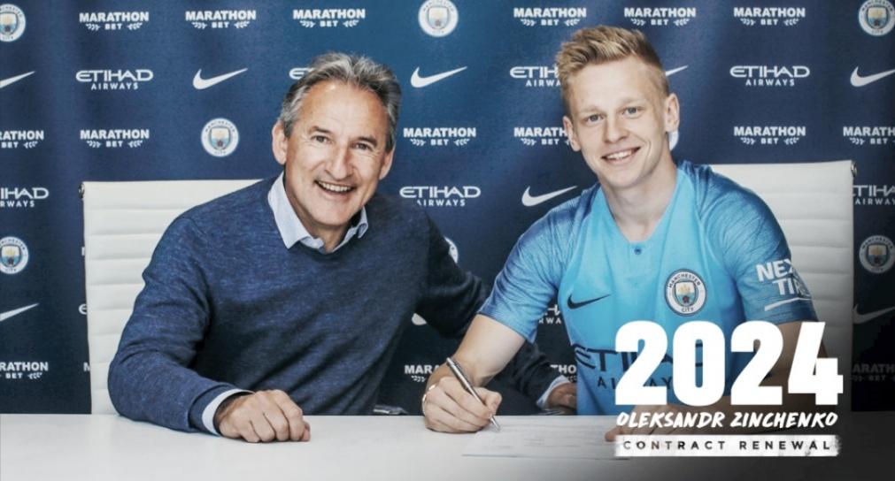 Oleksandr Zinchenko renova com Manchester City até 2024