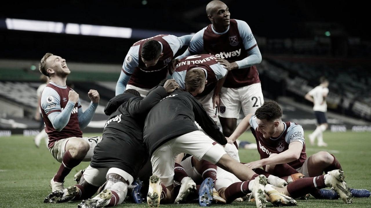 West Ham festeja la igualad en el último instante. Foto: Premier League.