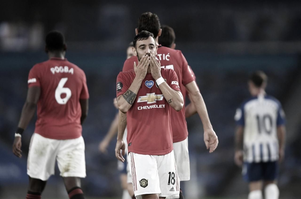 """Bruno Fernandes faz dois em vitória do United e diz: """"Brigando por na vaga na Champions"""""""