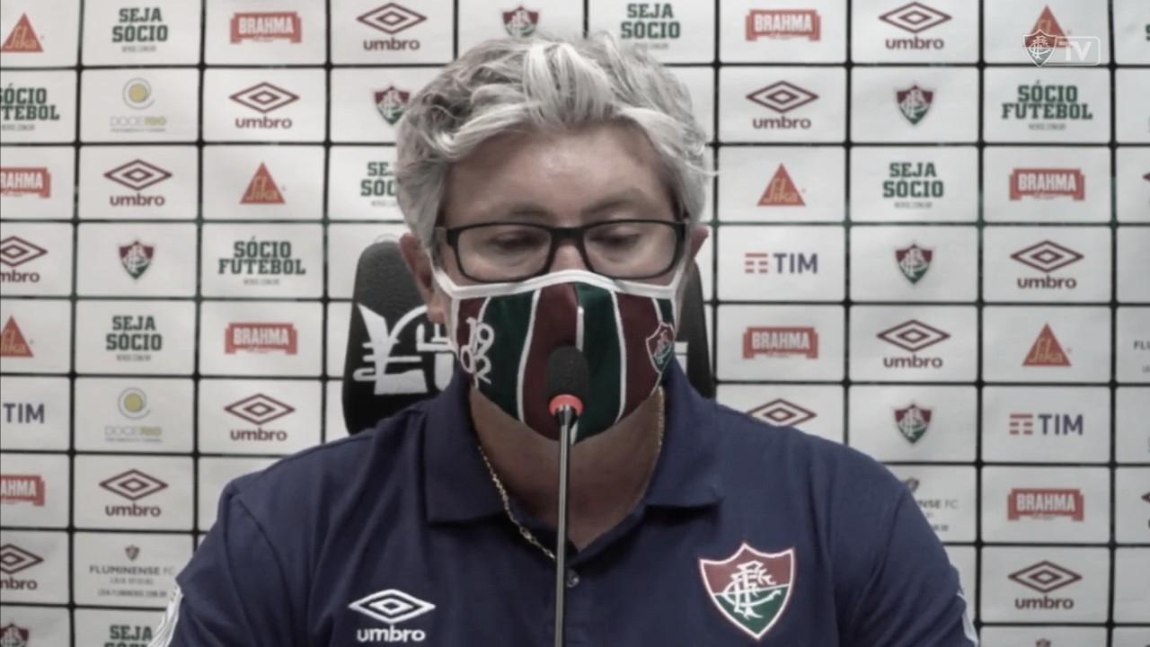 """Odair Hellmann lamenta reação do Fluminense só no fim do jogo: """"Tarde para buscar o empate"""""""