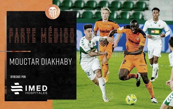 Mouctar Diakhaby en el partido del pasado viernes. Fuente: Valencia CF