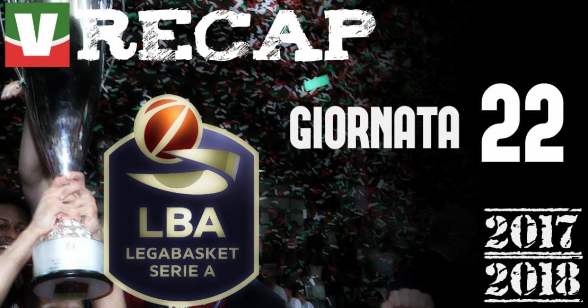Legabasket: risultati e tabellini della 22esima giornata