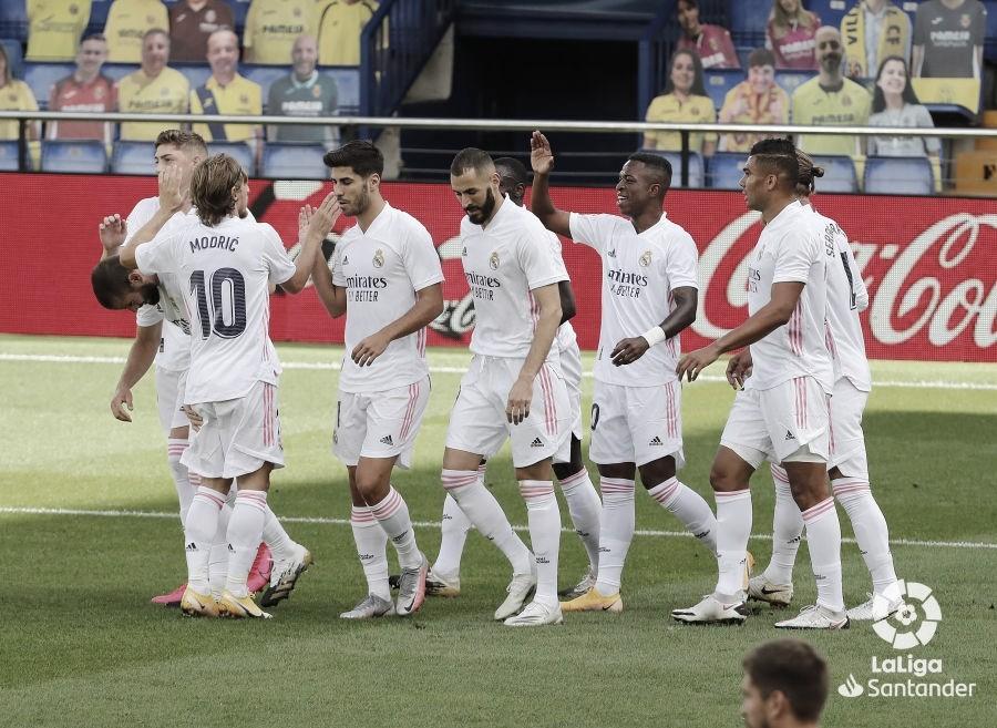 Los jugadores del Real Madrid celebran el gol de Vinicius / Fuente: laliga.com