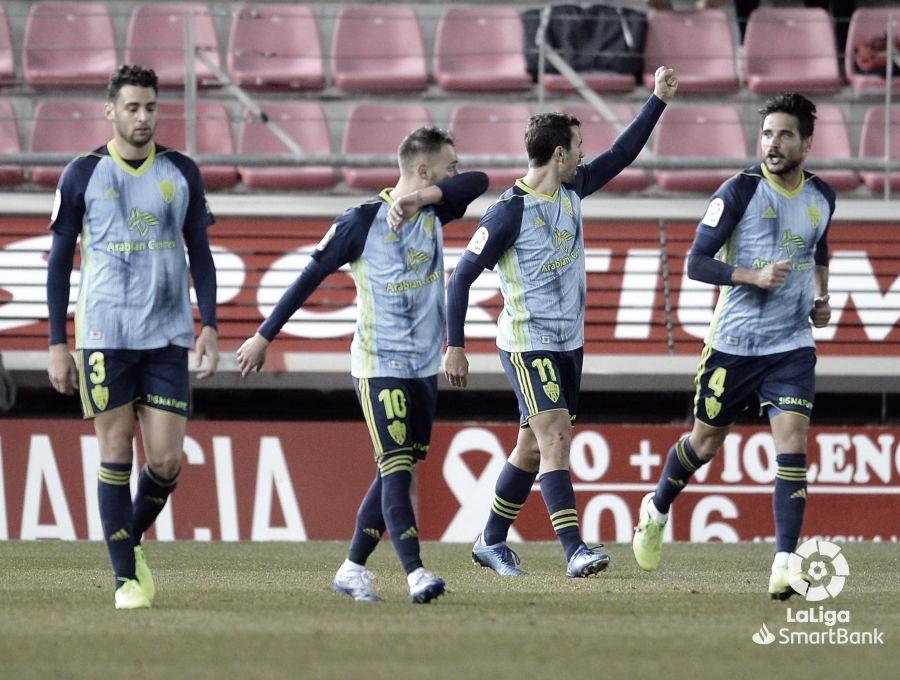 Celebración del gol de Juan Muñoz en Soria | Fuente: La Liga