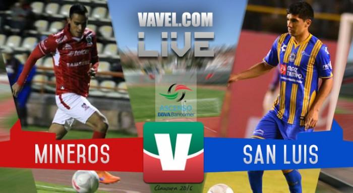 Resultado Mineros Zacatecas - Atlético San Luis en Ascenso MX 2016 (1-1)
