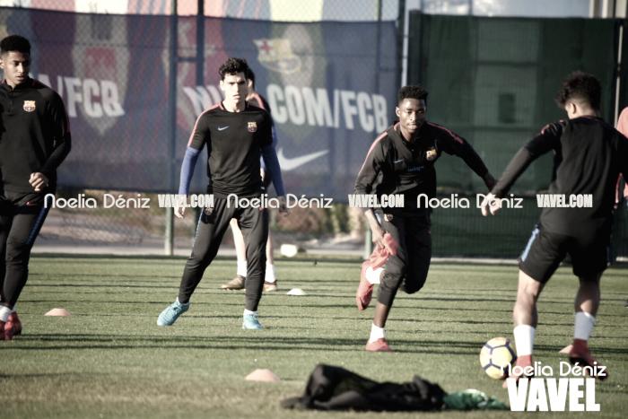 Entrenamiento del Barça B antes de poner rumbo a Tenerife