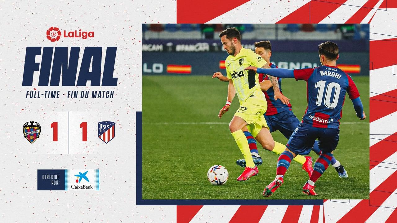 El Levante reduce el margen de ventaja del Atleti en la lucha por el título (1-1)