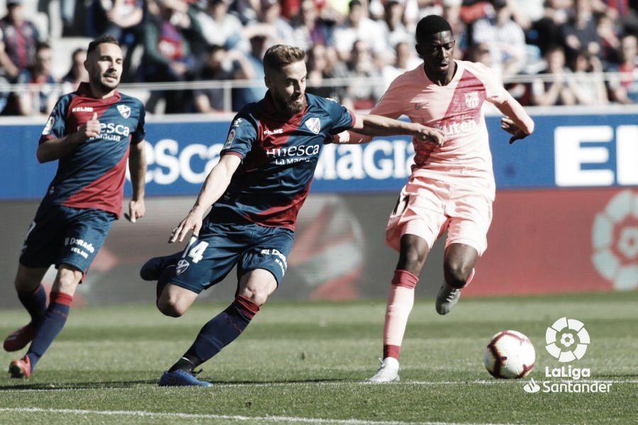 Imagen del último encuentro disputado entre la SD Huesca y el FC Barcelona: Web LaLiga Santander