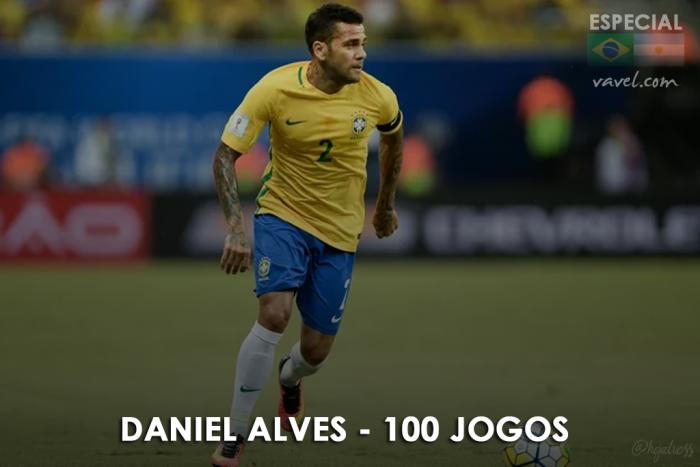 Daniel Alves completa sua centésima partida pela Seleção Brasileira
