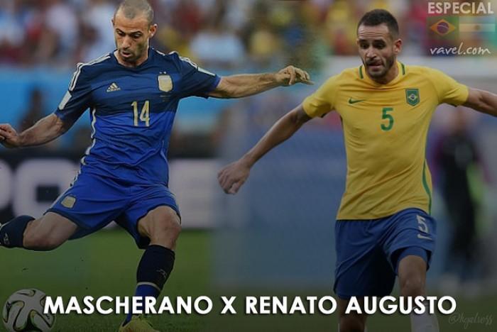 Equilíbrio e confiança: Mascherano e Renato Augusto se tornam peças-chave em Brasil e Argentina