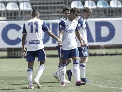 Los jugadores celebran un gol durante la presente temporada// Foto: realzaragoza.com